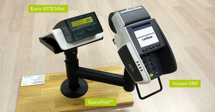 Yomani XRP från Verifone, Euro-50TE Mini från Elcom samt SpacePole från Ergonomic Solutions