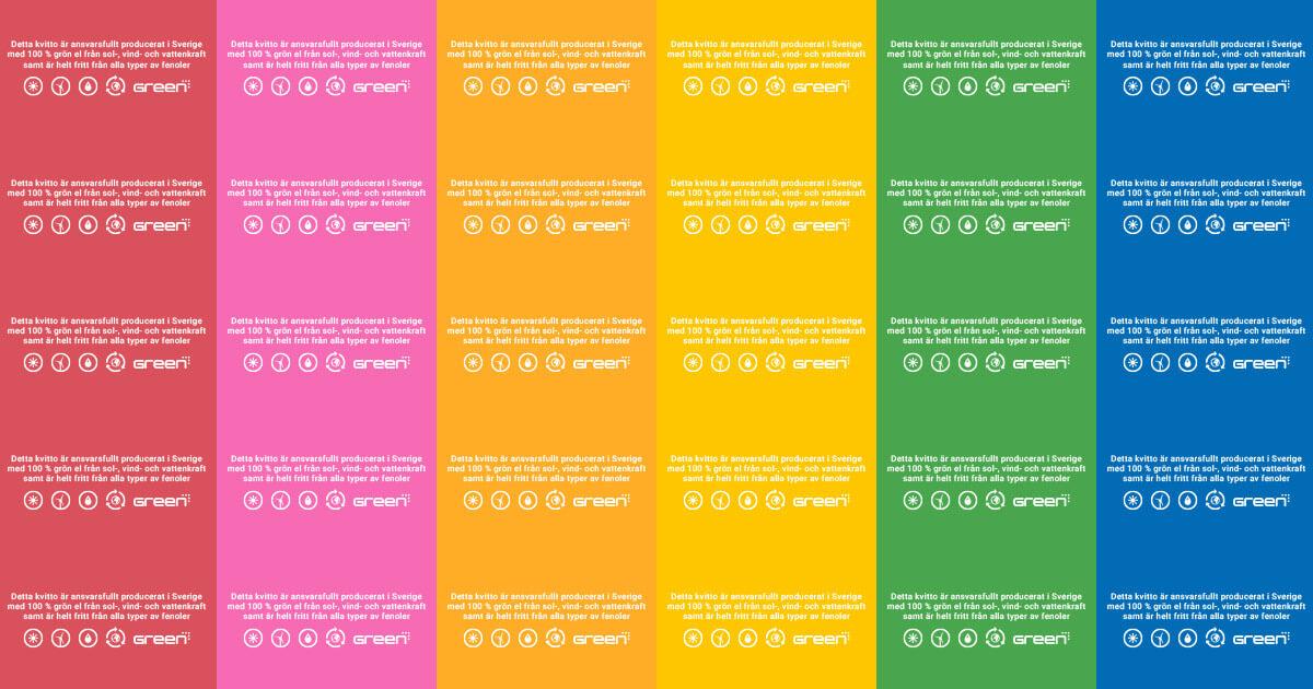 GreenReceipt finns i flera olika nyanser som passar perfekt till olika tillfällen under året
