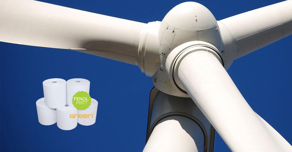 GreenReceipt är tillverkat med 100 % vind- och vattenkraft