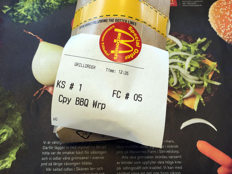 Kvitto från McDonald's för en specialorder