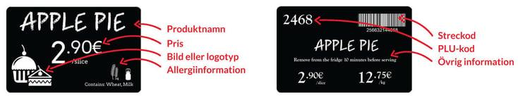 Du kan visa upp en rad olika typer av information på både fram- och baksidan av plastkorten