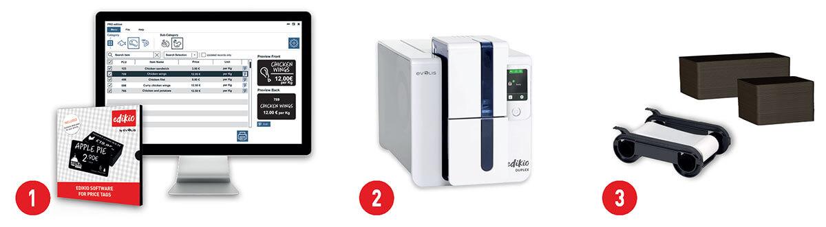 Produktförpackningen för Edikio består av mjukvara, kortskrivare, färgband och plastkort