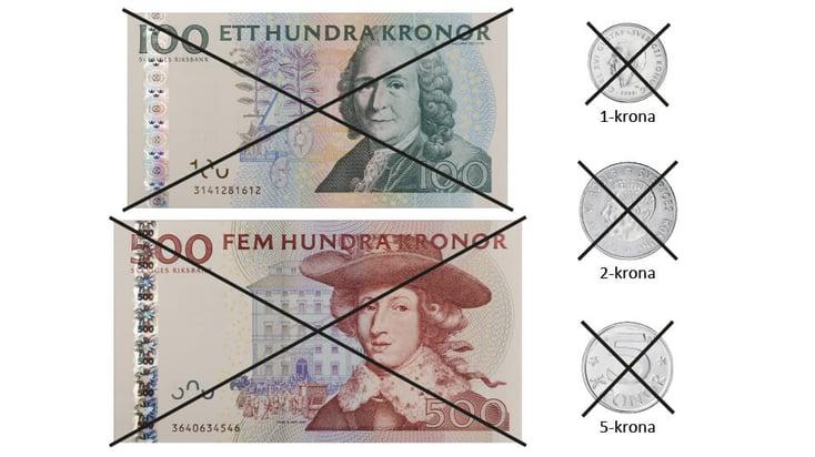 De ogiltiga sedlarna och mynten efter 30 juni 2017