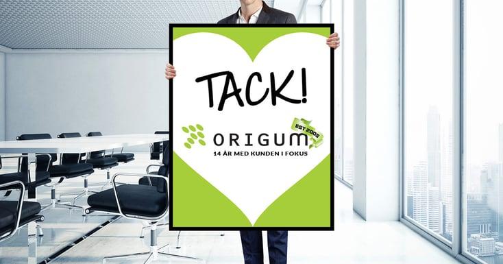 Origum  Distribution firar 14 år