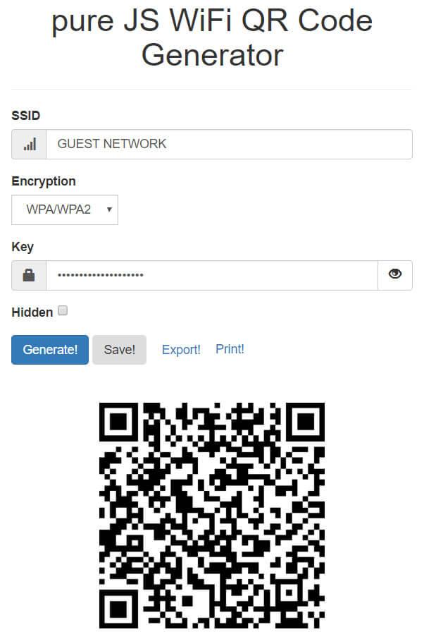 Exempel på QR-kod-generator (QiFi)