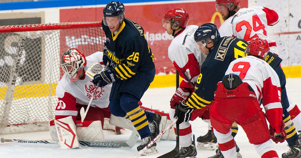 Wings hockey in action